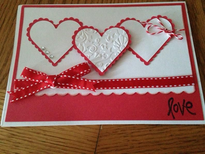 Valentines Day handmade greeting Card with envelop