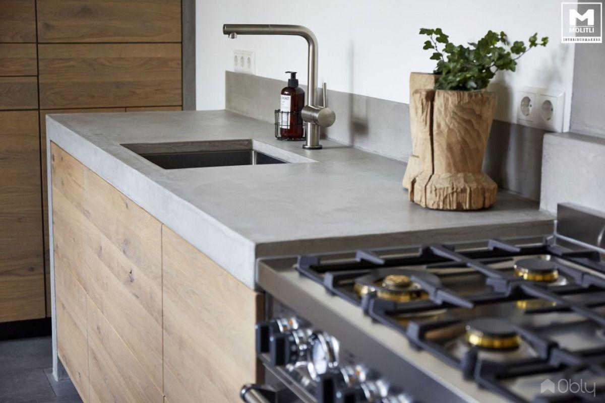 Keuken betonstuc hout obly keuken ideeën profile