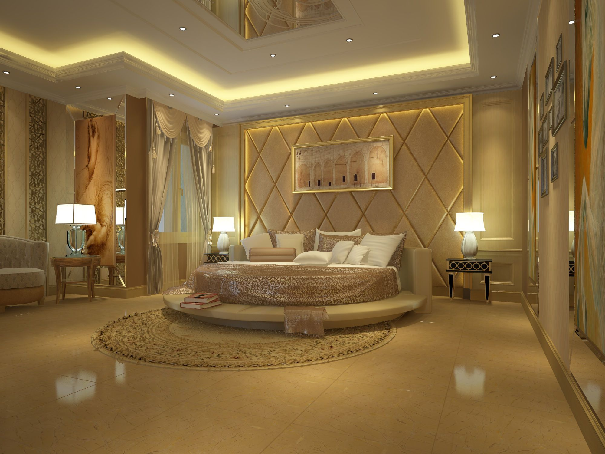 Luxury Master Bedroom Design With A White Marble Floor