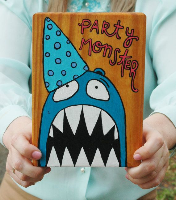 Party Monster  Original Painting on Wood by melodiousmonster, $46.00