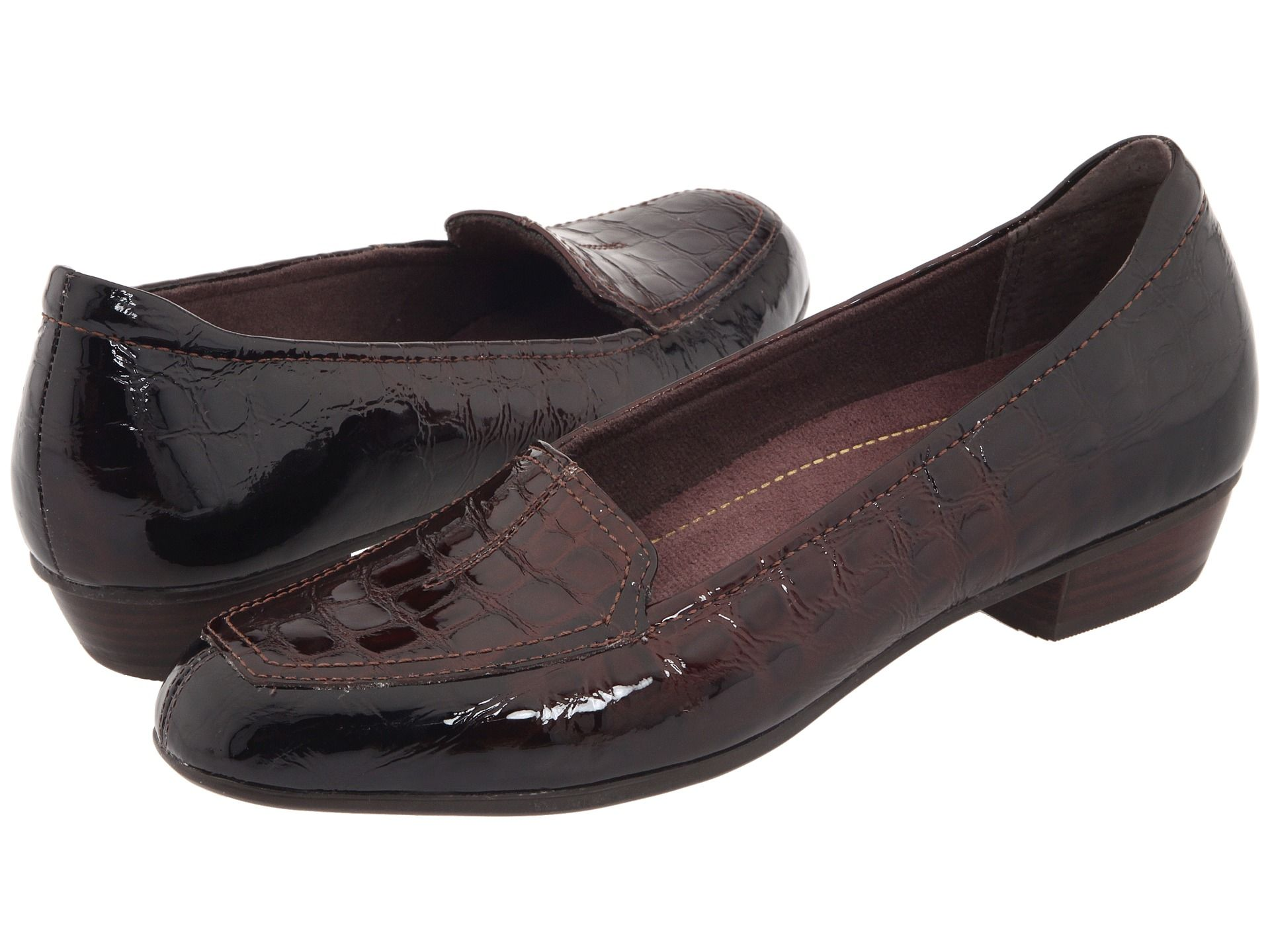 Loafers in brown patent leather croco