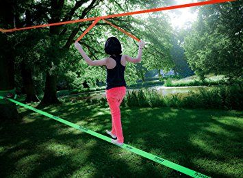 Amazon.com : Slackline Kit with Training Line Tree Protectors Ratchet Protectors Arm Trainer 57 feet Easy Set up Instruction Booklet and Carry Bag Complete Set Outdoor fun for Family Adults Children Kids : Sports & Outdoors