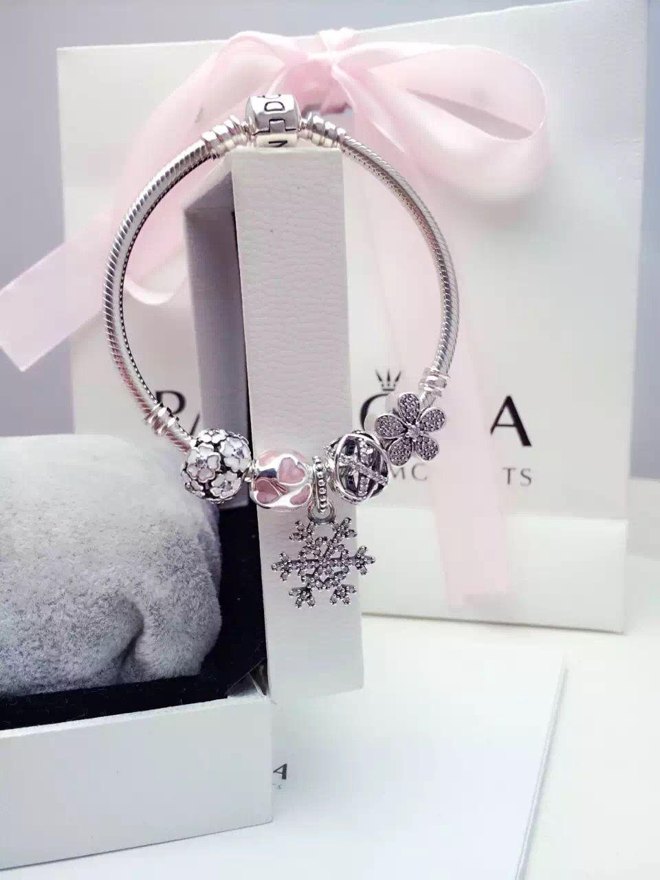 $159 Pandora Charm Bracelet Pink White. Hot Sale!