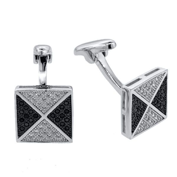.925 Sterling Silver Black Spinel and White Zirconia Micropave Cufflinks For Men #GemStoneKing