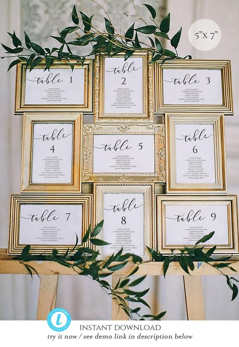 5x7 Wedding Seating Chart Template Calligraphy, table