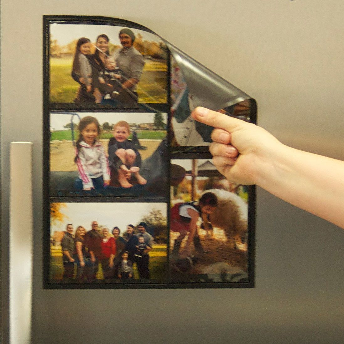 Magnetic Picture Frame Collage For Refrigerator Black Holds 10