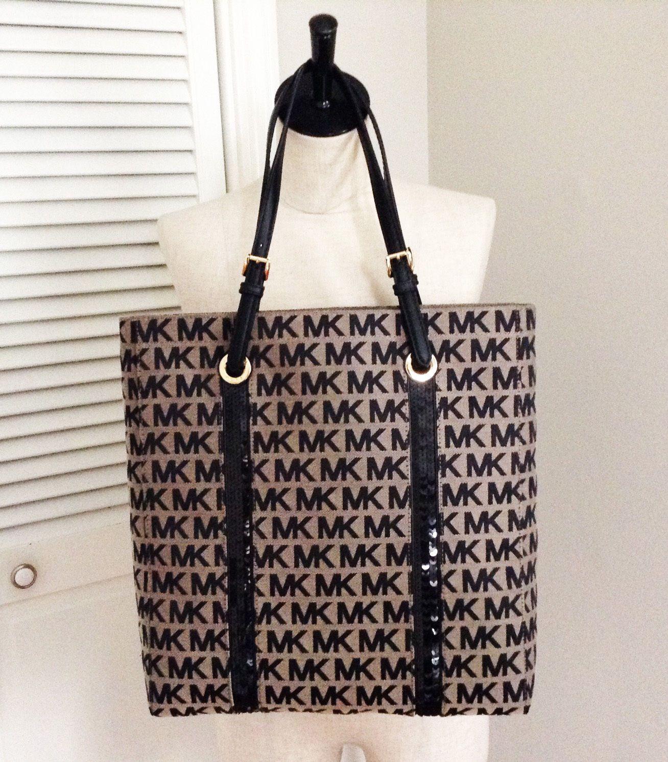 NWT Michael Kors Handbag Purse Sequin Stripes Ns Tote Black Bag Mk ... 1337b86adcab5