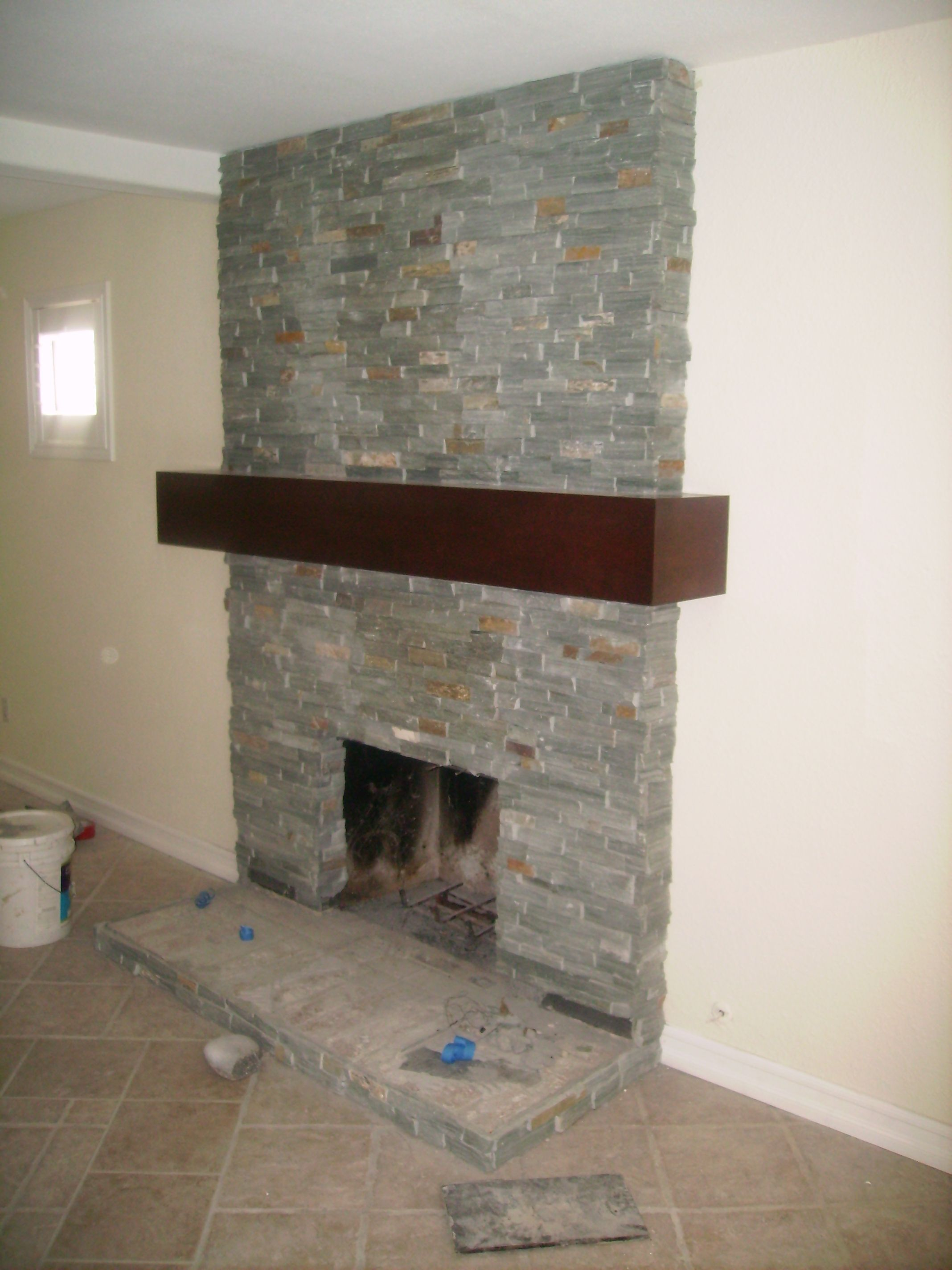 Stack Stone Fireplace Stacked Stone Stacked Stone Fireplaces
