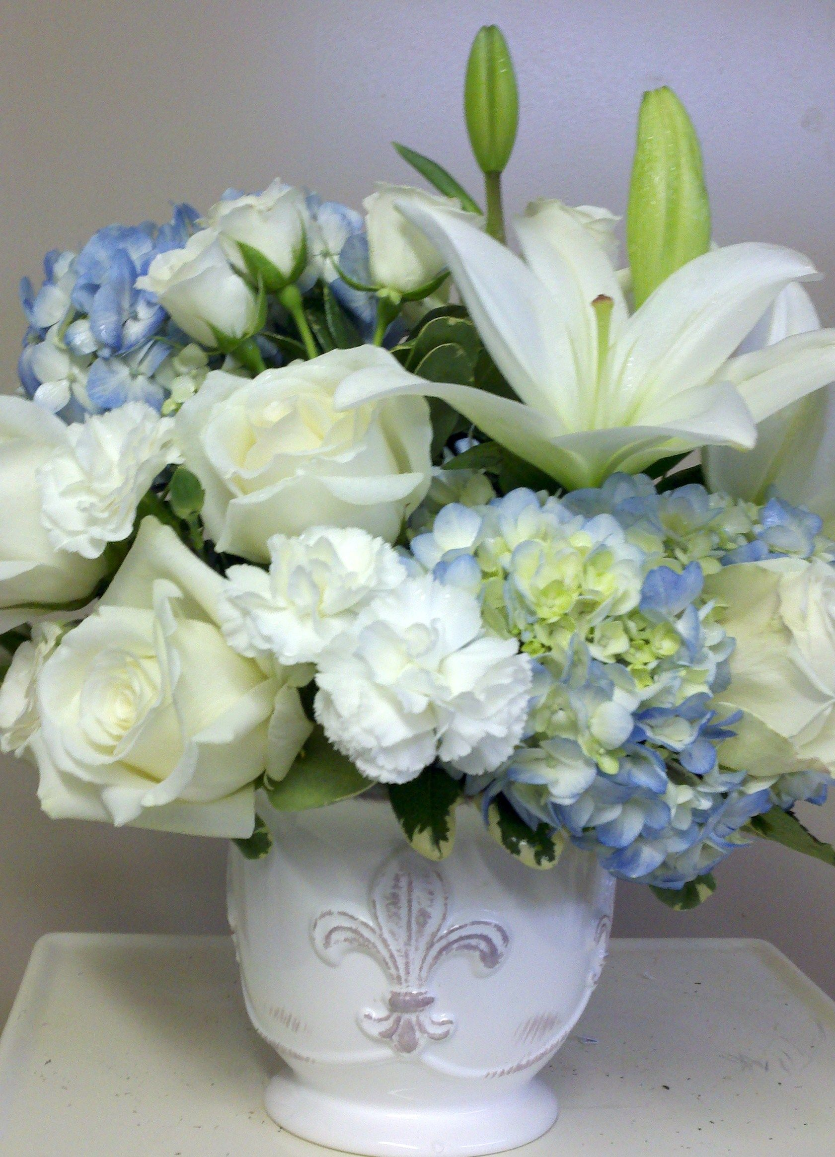 Blue Hydrangea With Roses Stock And Lilies In Country French Pot
