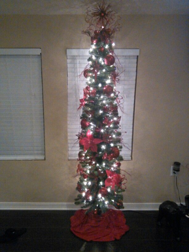 My Red 7ft pencil Christmas tree for 2015 Xmas ideas Pinterest