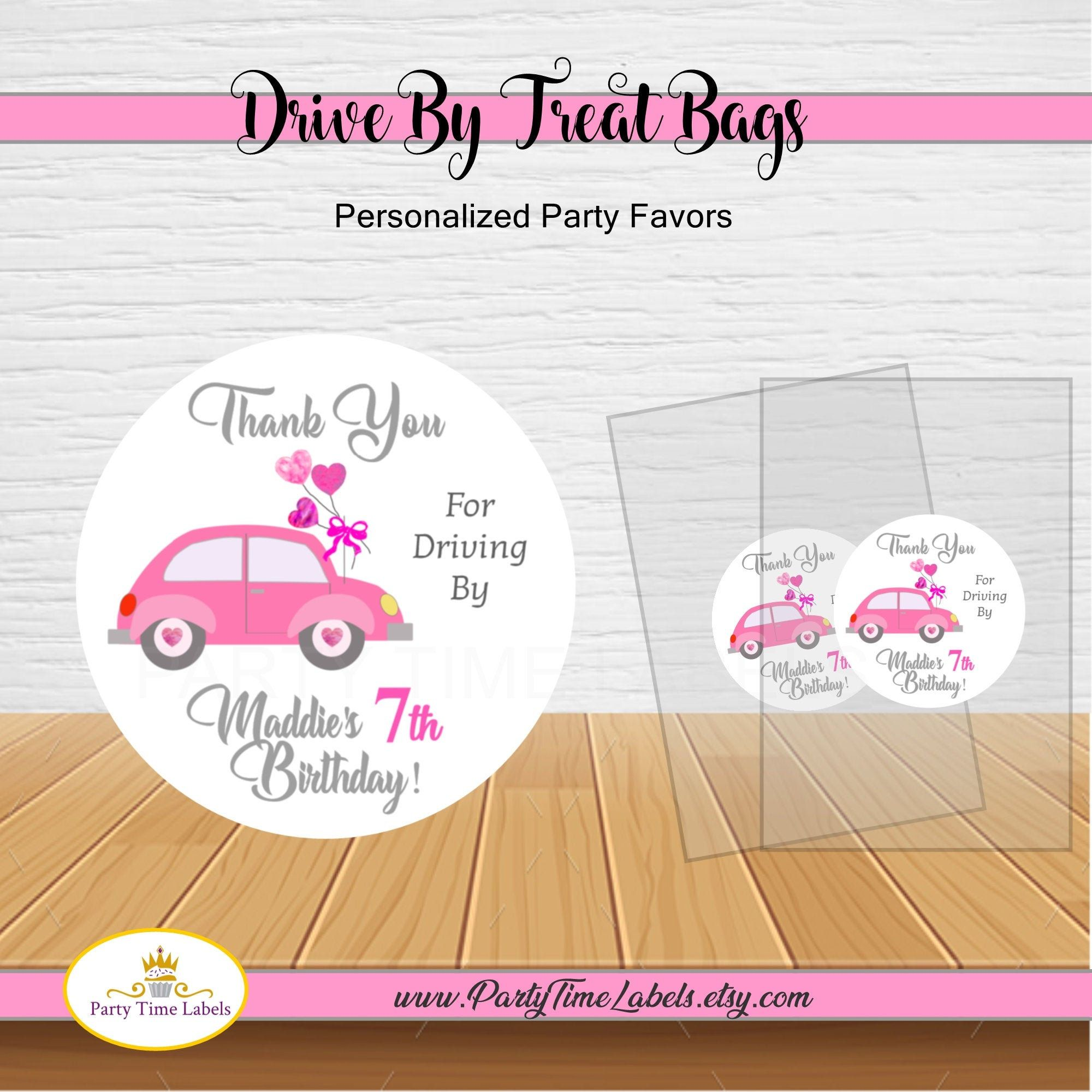Printed Labels Drive Thru Social Distancing Favors Red Truck Quarantine Party Bags 18 SETS Drive By Birthday Stickers /& Treat Bags