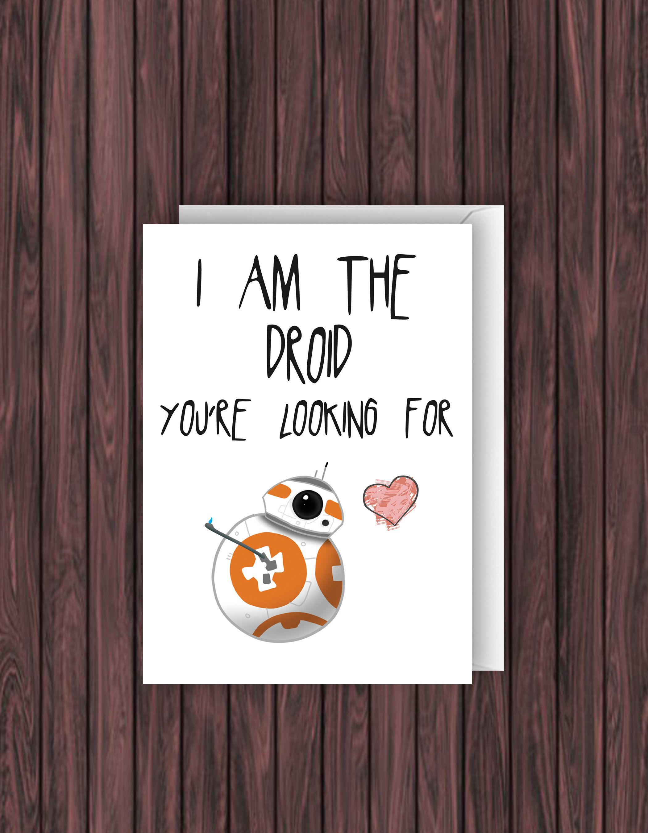 Bb 8 Card Star Wars Card Valentines Day Card Funny Anniversary