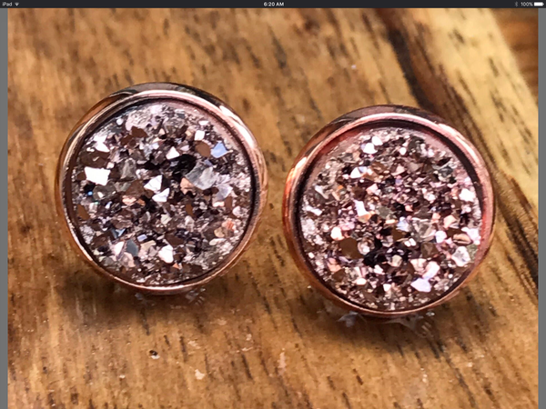 8e90b9dc9 Rose gold druzy earrings, gold or silver Druzy earrings in 2019 ...