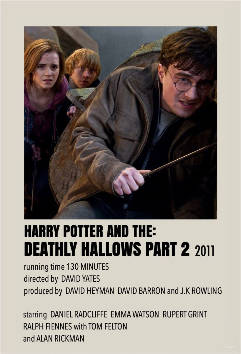 Harry Potter And The Deathly Hallows Part 2 By Millie Harry Potter Movie Posters Movie Posters Minimalist Harry Potter Poster
