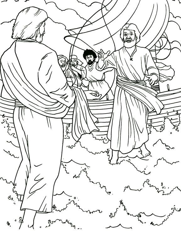 Petrus Op De Golven Jesus Walk On Water Bible Coloring Pages