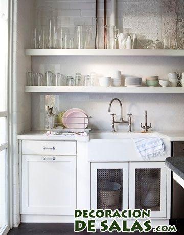 fregadero en blanco con estantes | cocinas | Pinterest | Fregaderos ...