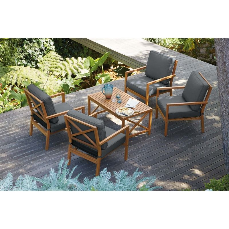 Gardinio Wooden 4 Seater Garden Lounge Set With Images Outdoor Furniture Sets Seater Outdoor Decor