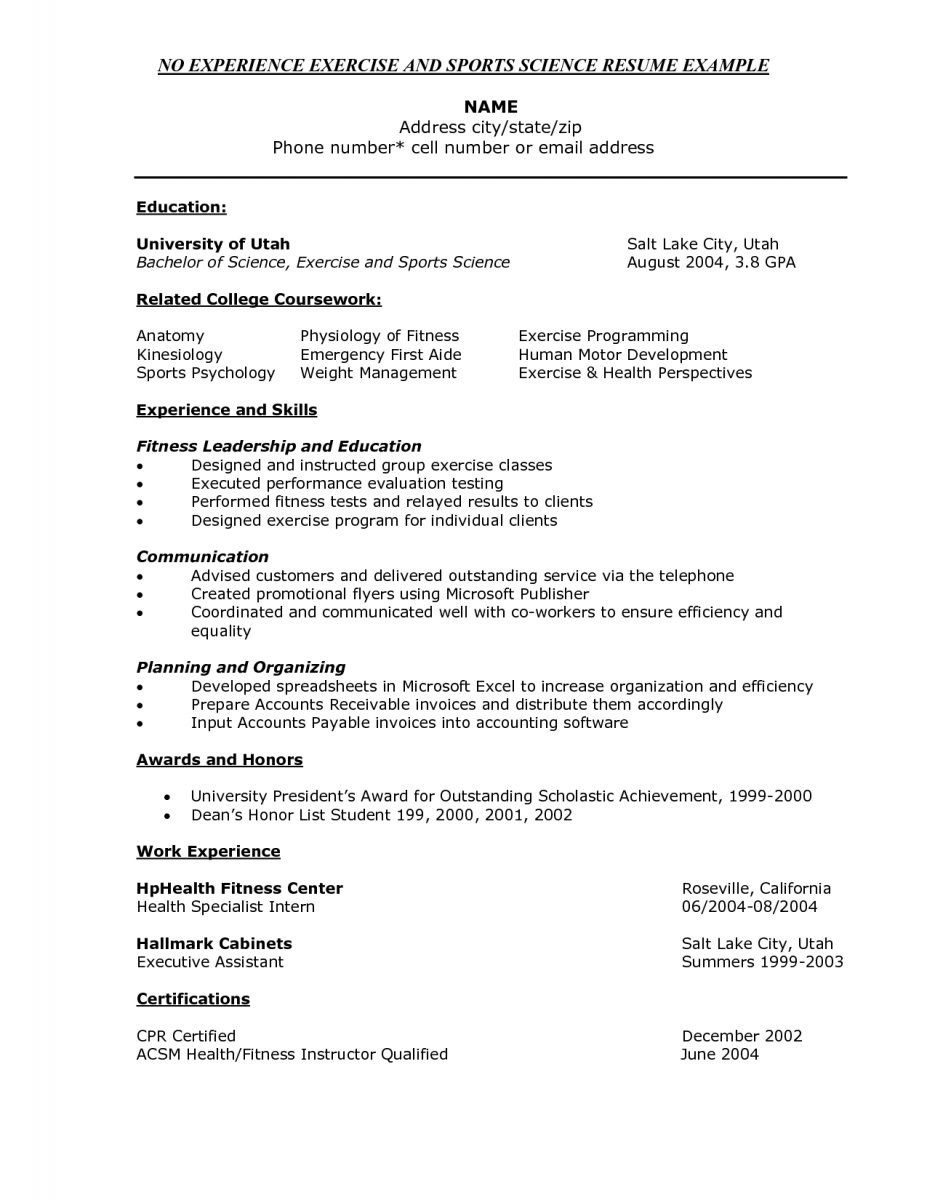 Exercise Science Resume Example  Entry Level Biology Resume