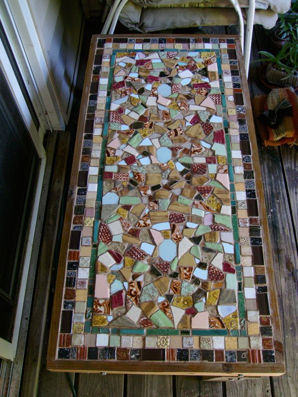 Mosaic Table Table Top With Textured Clay Tiles Tutorial Here