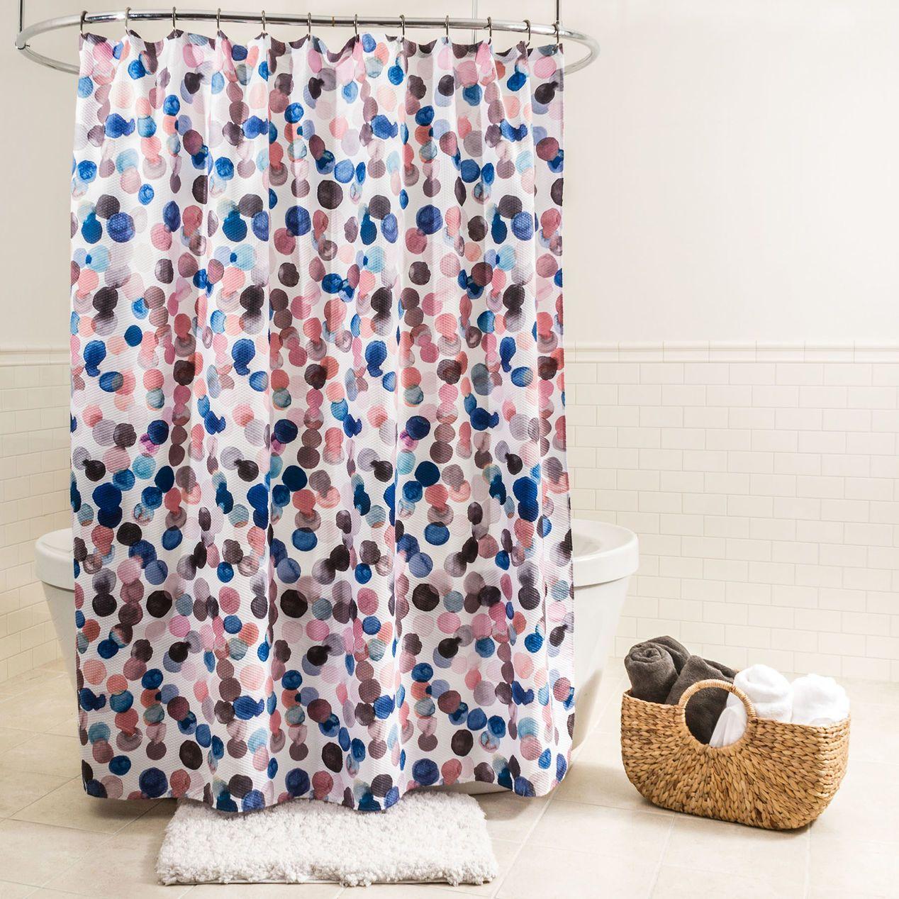 Multicolored Splash Dots Fabric Shower Curtain Fabric Shower