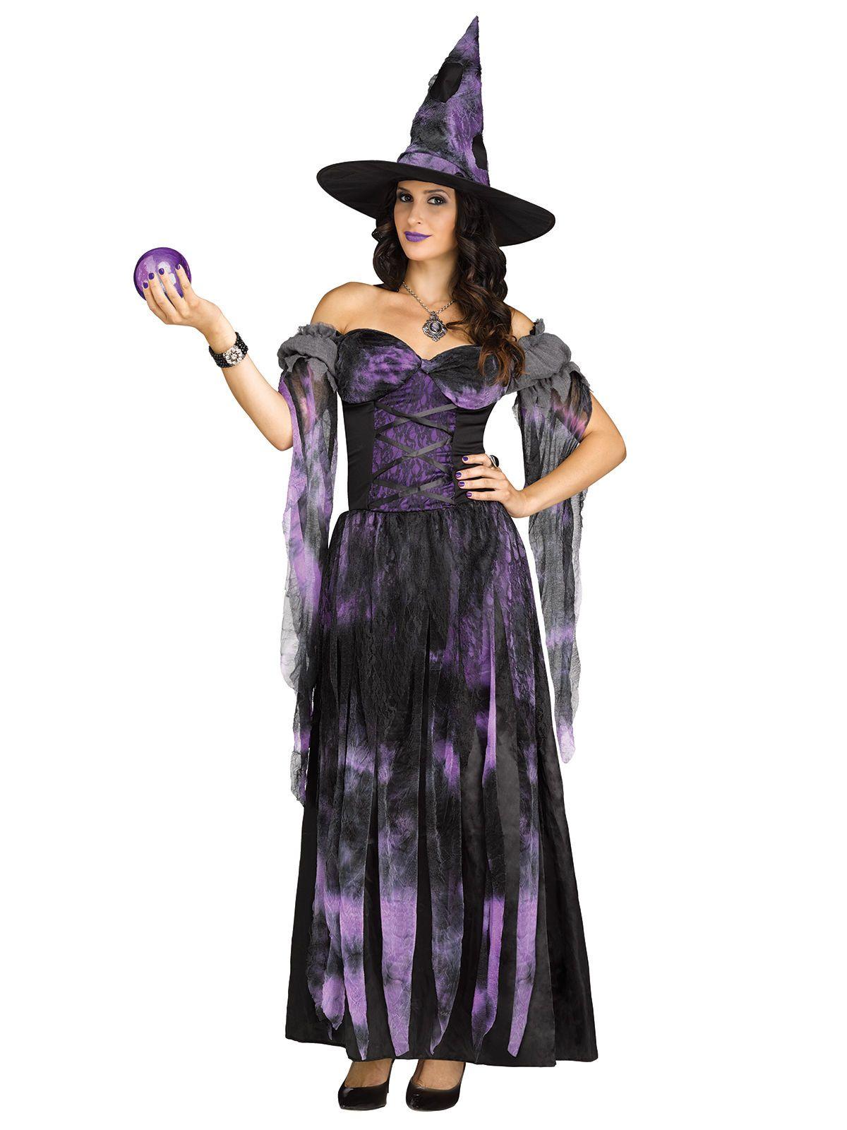wahrsagende hexe damenkostüm zauberin lila-schwarz. aus der