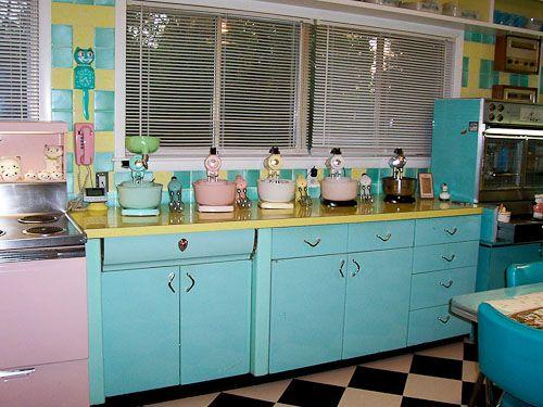Lori S Pink Blue And Yellow Retro Kitchen A Whole Lot Of