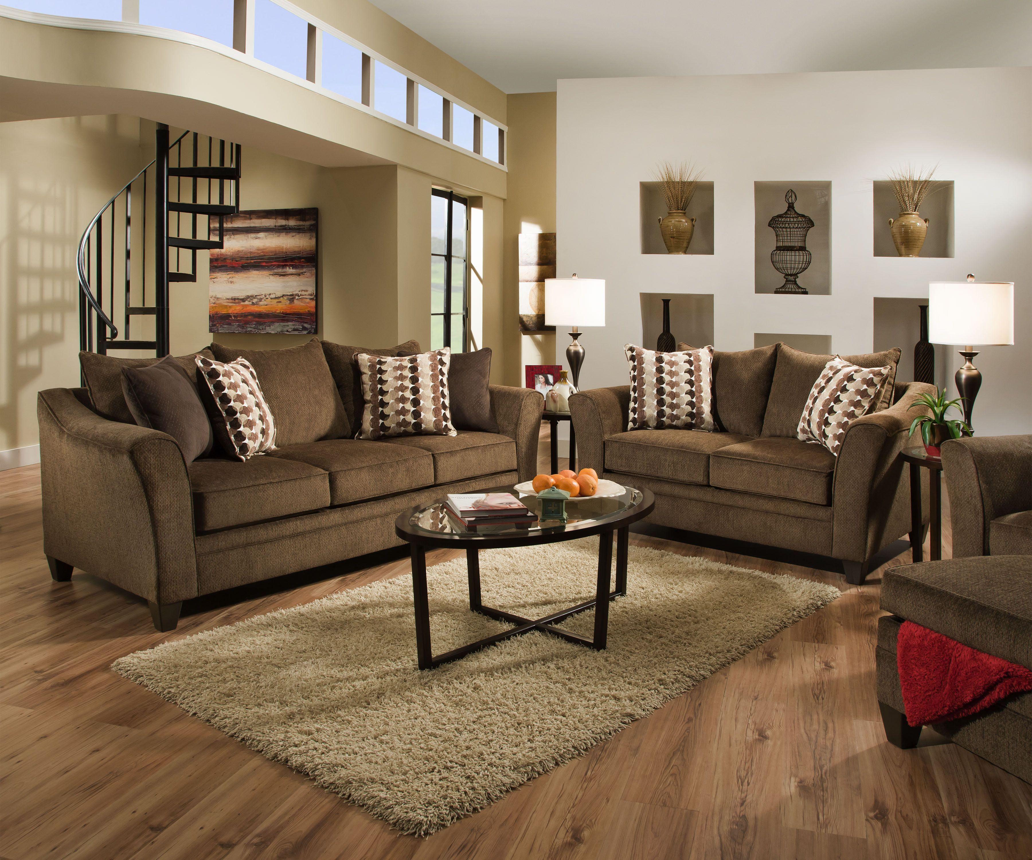 Albany 6485 Brown Truffle Sofa Loveseat Set Living Room Sets