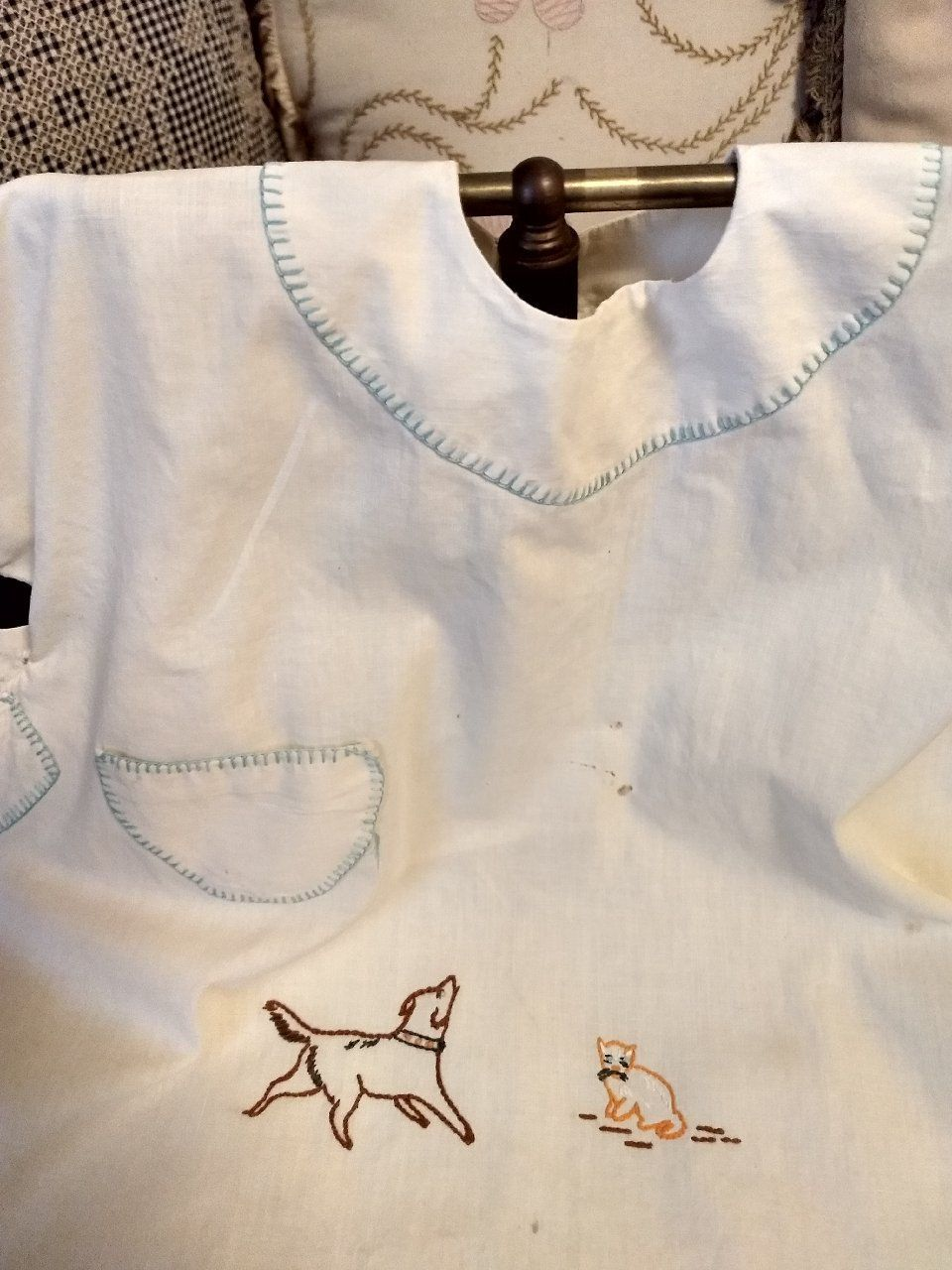 Antique Baby Jacket Vintage Embroidered White Shirt Top 1920/'s 1930/'s ADORABLE Infant Boys Girls Clothing Unisex