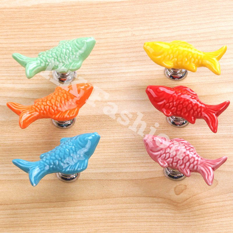 6pcs/Set Ceramic Fish Shaped Shoe Cabinet Door Knobs Cupboard ...