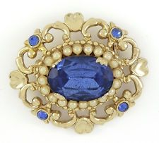 Beautiful Signed CORO Royal Blue Large Stone Brooch With Faux Pearls
