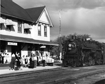Melville CN Station as passengers wait for the steam locomotive