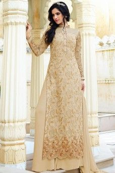 96b26a9d67 Cream and Gold Heavy Embroidered Designer Long Straight Cut Pakistani  Palazzo Suit