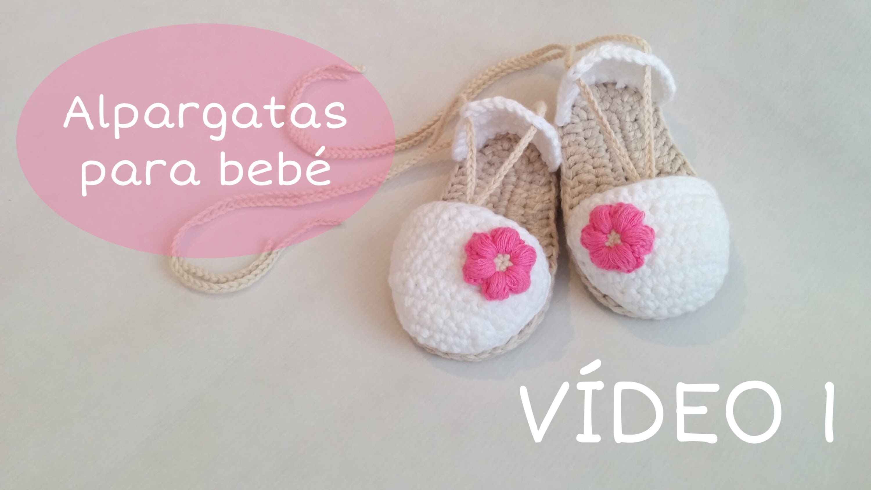 cee5809eea9 Sandalias o alpargatas para bebé tejidas a crochet (VÍDEO I ...