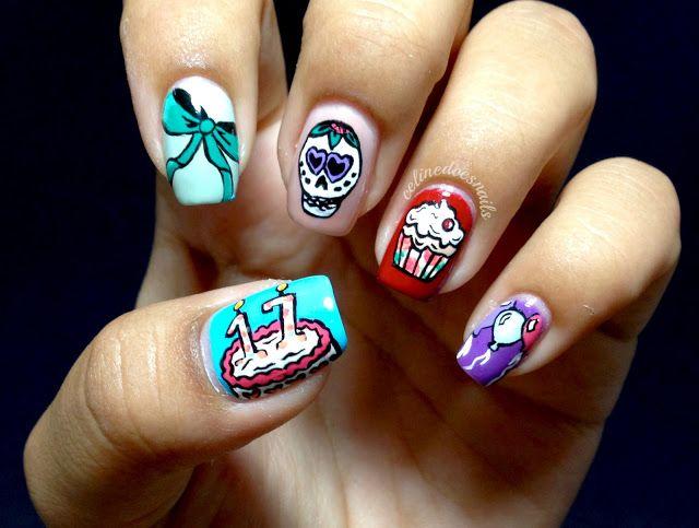 Nails By Celine Birthday Nail Art Birthday Nail Art Birthday