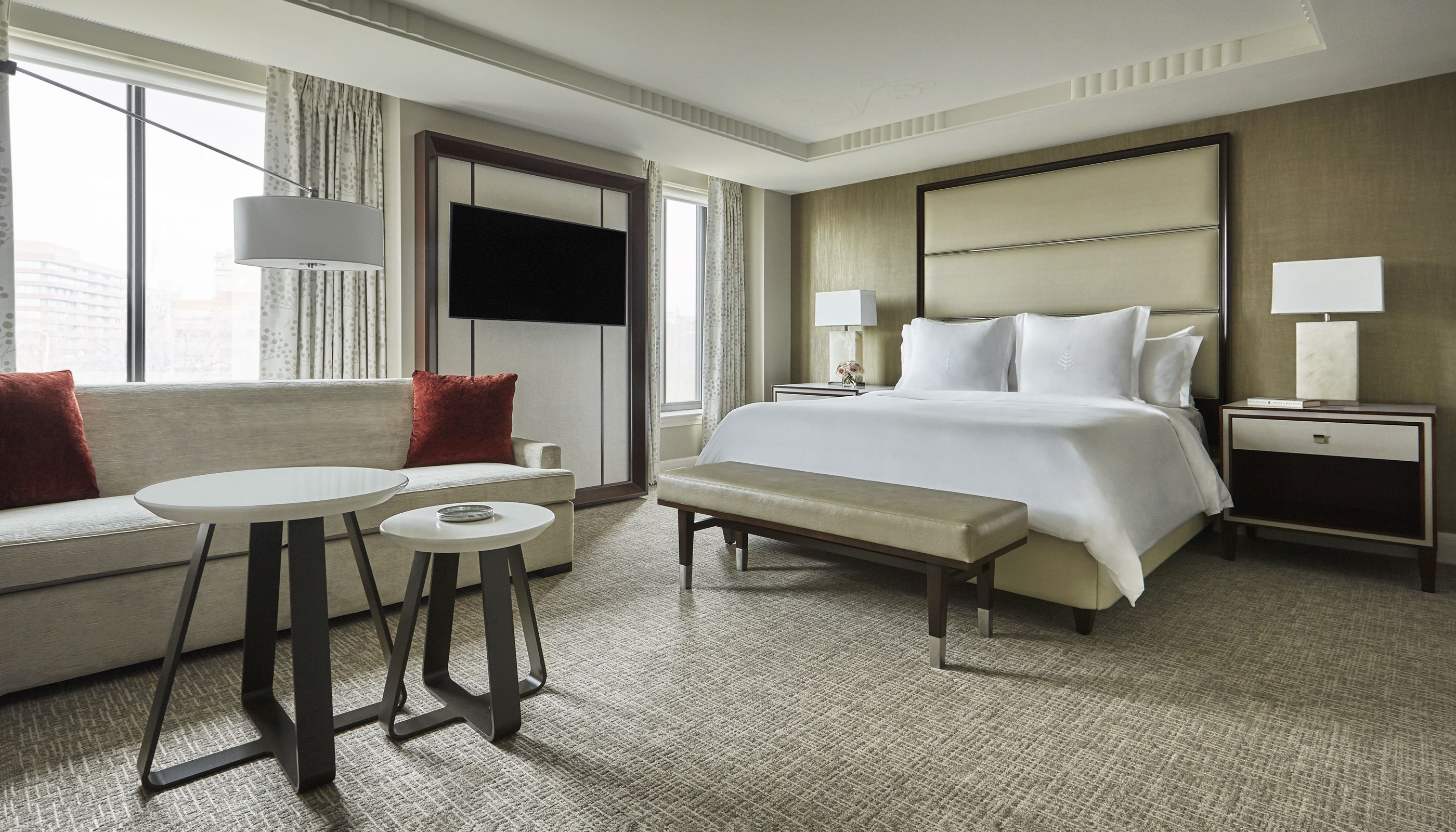 Technology And Tvs Are Changing Guestroom Design Hotel Management Luxury Hotel Room Guest Room Design Hotels Design