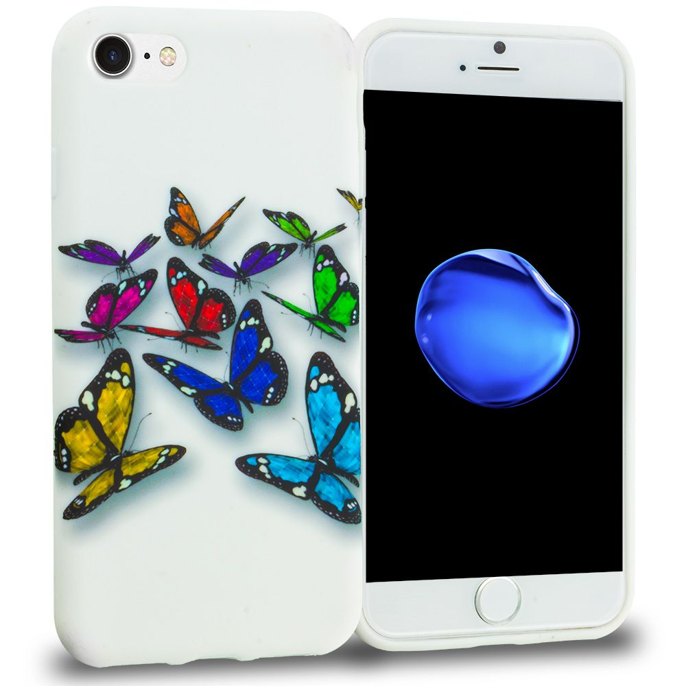 Apple iphone 8 blue colorful butterfly tpu design soft