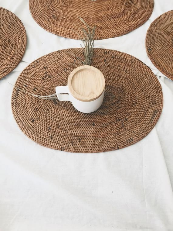 Oval Ate Placemats Small Rattan Material Small Rattan Etsy In 2021 Placemats Traditional Placemats Natural Placemats