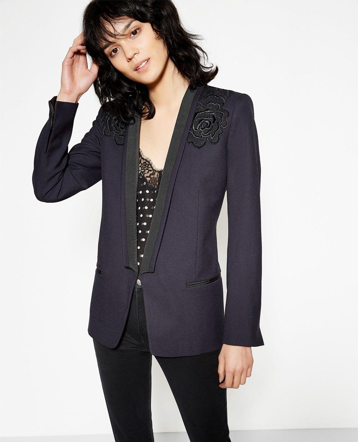 the kooples france veste tailleur femme bleu marine brod e wish pinterest veste tailleur. Black Bedroom Furniture Sets. Home Design Ideas