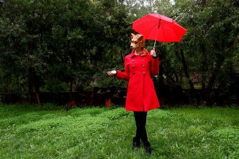 Fox Girl - Fox Mask, Dangerfield Red Military Trench Coat, Wool ...