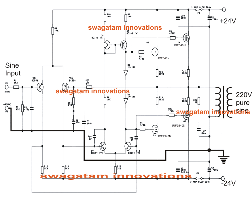 Convert Audio Amplifier Into Pure Sinewave Inverter Homemade Circuit Projects Circuit Diagram Sine Wave Pure Products