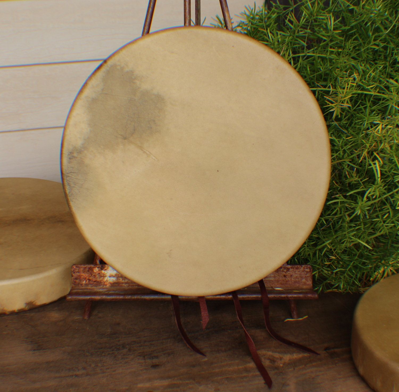 "12"" Deer Hide Hand Drum Native American Made William Lattie Cherokee comes w/ Certificate of Authenticity"