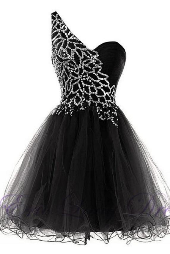 One Shoulder Lace Bridesmaid Dresses, Short Pink