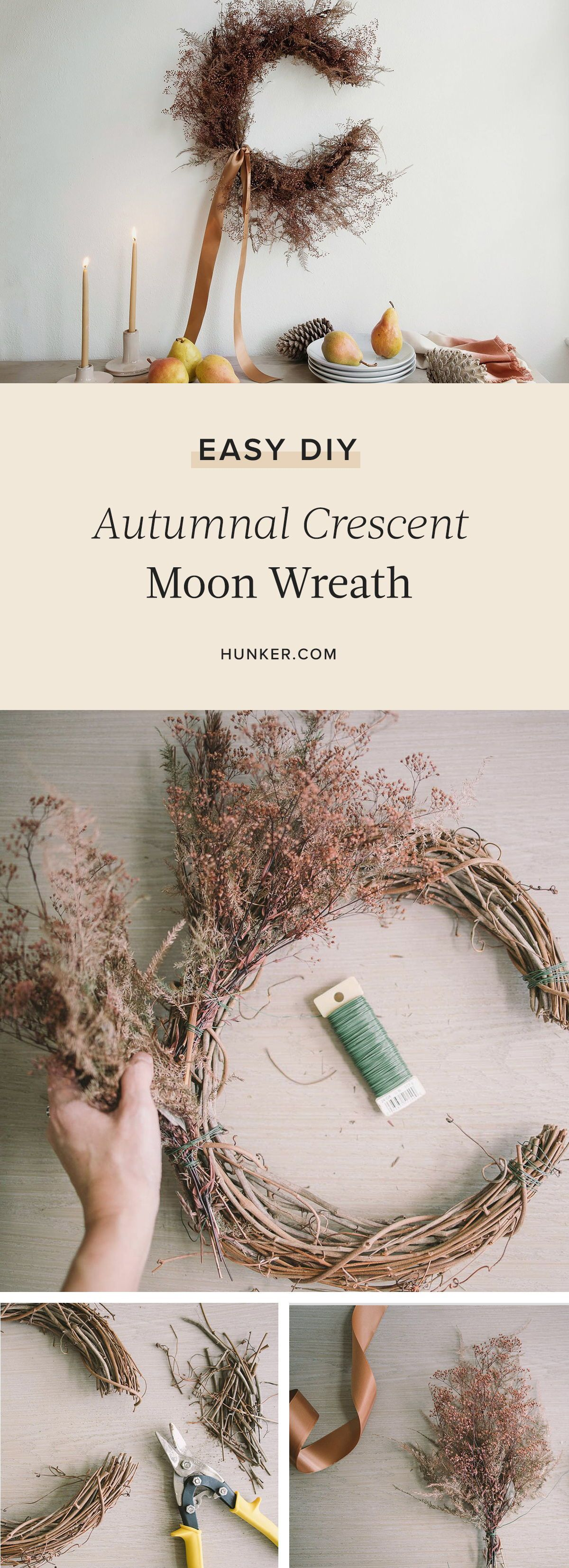 Between the witchy shape and earthy palette, this wreath will take your seasonal decor from Halloween straight through to Thanksgiving seamlessly. Here is how to make this DIY autumnal crescent moon wreath. #hunkerhome #crescentmoon #diy #thanksgivingdiy #diyideas #diydecor