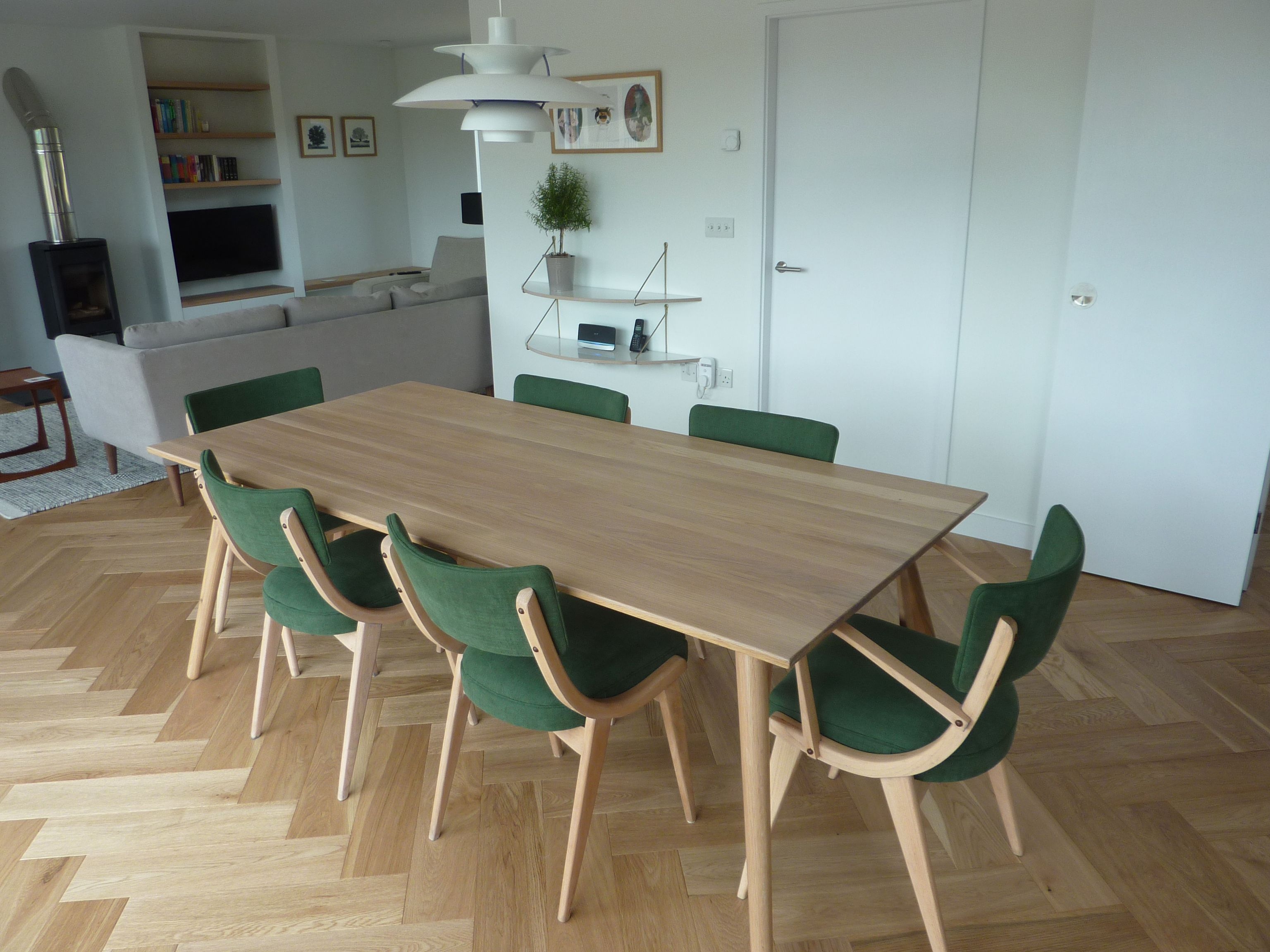 Benchair mid century green dining chair set reupholstered in Romo ...