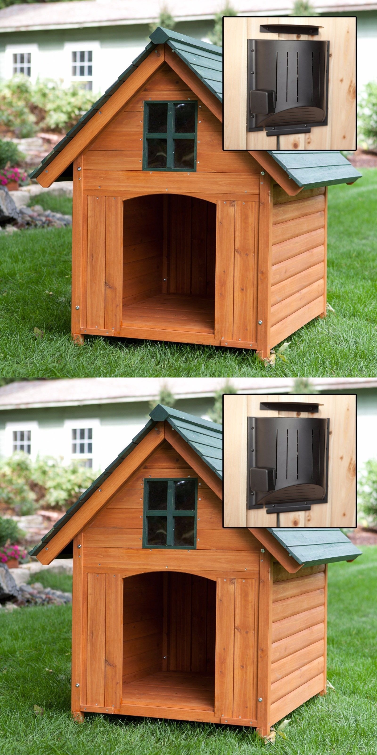 Dog Houses 108884 Outdoor Large Dog House Heated Wood Pet Kennel Deluxe Rustic Wooden Buy It Now On Extra Large Dog House Large Dog House Outdoor Dog House