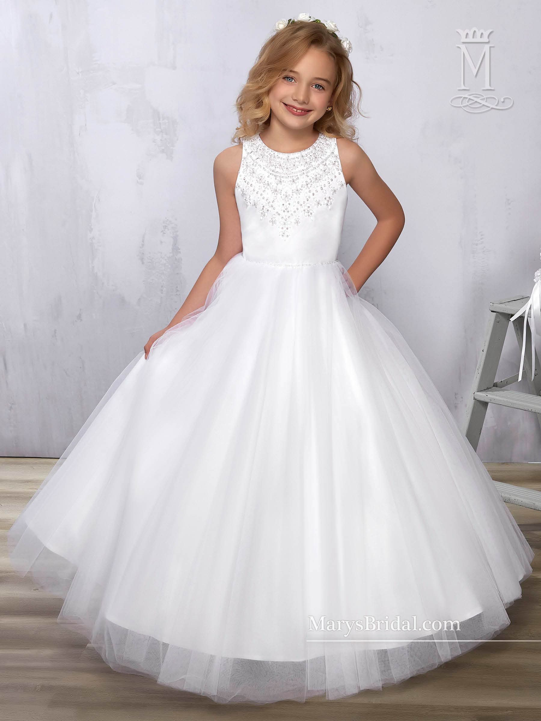 1dad571f1 Beaded Tulle Flower Girl Dress by Mary s Bridal Cupids F571
