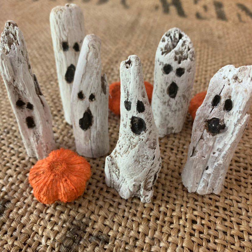 Mini Driftwood Ghosts Set Of 3 Halloween Decor Rustic