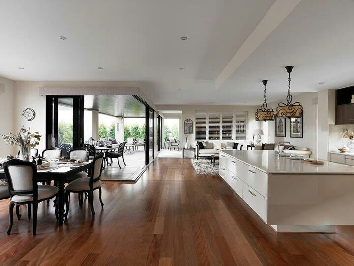 Dark Floors White Kitchen Dark Timber Stained Doors Similar Colours To Ours Open Plan Living Living Design New Home Designs