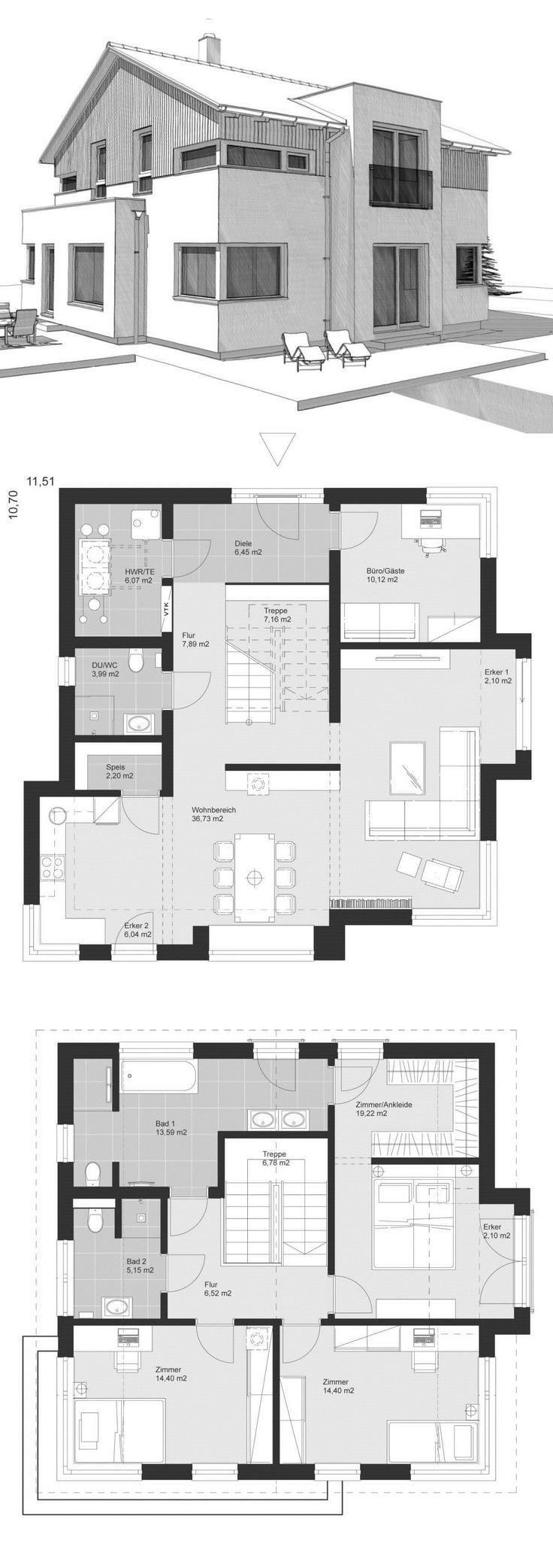 Einfamilienhaus Neubau im Landhausstil mit Satteldach Architektur, Holz Fassade ... - HausbauDirekt #holzbauen