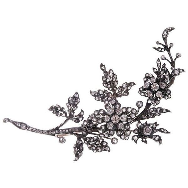 Preowned  Turn-Of-The-Century  Diamond Floral Brooch (£4,695) ❤ liked on Polyvore featuring jewelry, brooches, multiple, 18 karat gold jewelry, floral jewelry, diamond brooch, 18k jewelry and preowned jewelry